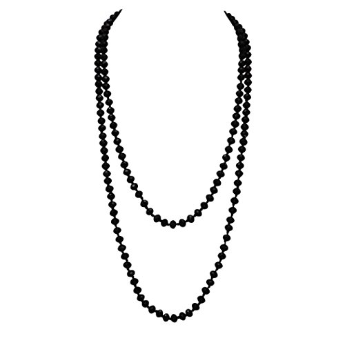 (Rosemarie Collections Women's Faceted Glass Crystal Beaded Long Strand Necklace and Stretch Bracelet Set (Black Necklace Only))