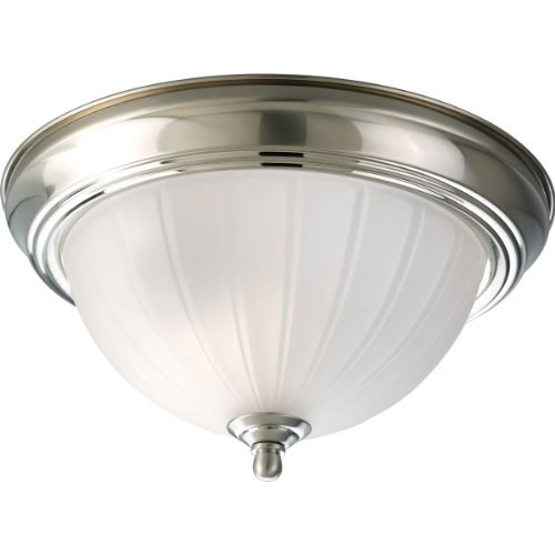 Progress Lighting P3816-09 1-Light Close-To-Ceiling with Etched Ribbed Glass, Brushed (09 Etched Glass)