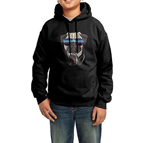 DJ Pug Rock Teen' S Pullover Hoodie Sweatshirt L