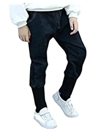 pipigo Boys Denim Jeans Loose Harem Pant for Kids