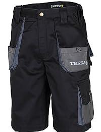 """Terra 10-0103-BK36 Drill Canvas Tool Pocket Work Short, 36"""", Black"""