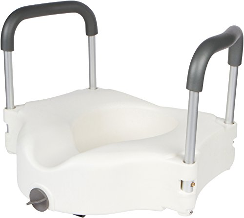 d Toilet Seat with Padded Handles - Strong, Secure Elevated Toilet Seat with Locking Mechanism - Adds 5