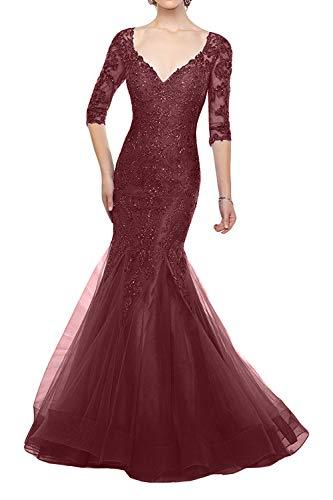 Brautmutterkleider La Tief Abendkleider Dunkel Blau Burgundy Ausschnitt Meerjungfrau Promkleider Spitze Braut V Marie 1BIrwzOB8q