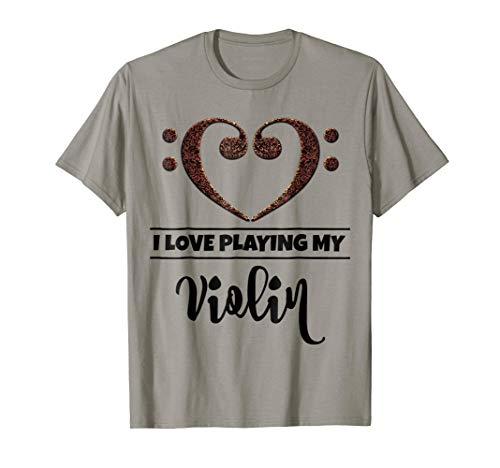 Double Bass Clef Heart I Love Playing My Violin Music Lover T-Shirt
