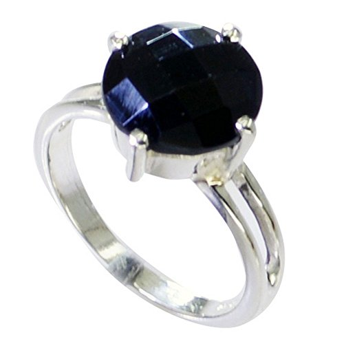 55Carat Natural Black Onyx Ring Sterling Silver Round Shape Chakra Healing US 4,5,6,7,8,9,10,11,12 - Onyx Flower Shaped Ring