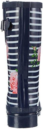 Azul de Beck Dunkelblau para 05 Mujer Botas Agua Stripes vggYpzW7