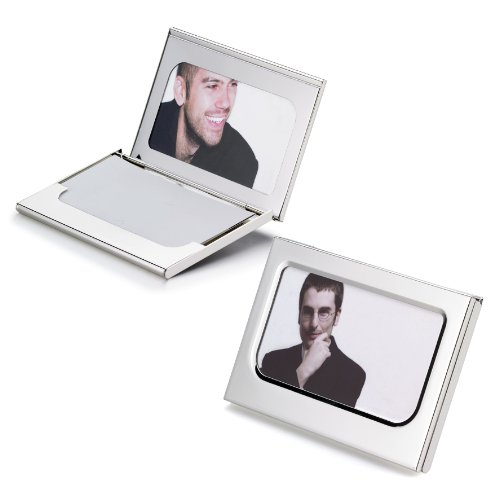 Visol Products Picture Perfect Photo Business Card Holder, Silver Plated ()