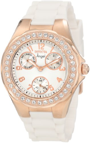 Invicta Women's 1646 Angel Jelly Fish Crystal-Accented 18k Rose Gold-Plated - Wrist Watch 18k White