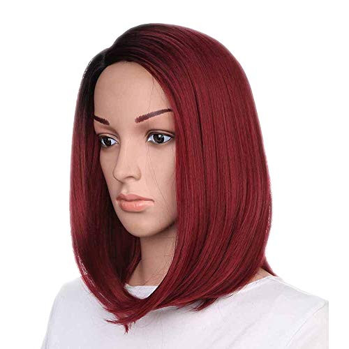 Women's Wig Straight Synthetic Wigs for Women Heat Friendly Hair Lace Front 2019 Fashion (Red, Free -