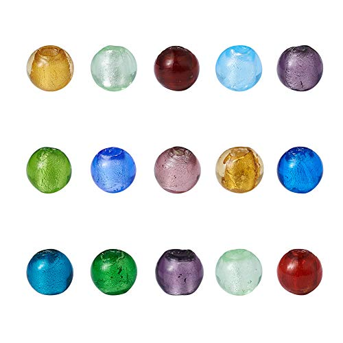 Beadthoven 200pcs 8mm Handmade Silver Foil Glass Beads Round Beads for Making Jewelry Accessories DIY Decoration Creative Presents Gifts Mixed Color (Round Ball)