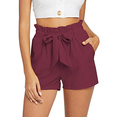NEWFANGLE Women's Casual Paper Bag Shorts Elastic Tie Waist with Pocket Comfy Summer Shorts for Women,WineRed,L