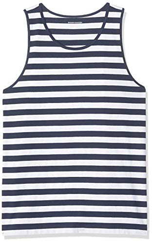 Amazon Essentials Men's Regular-fit Tank Top, Navy/White, Large