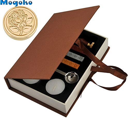  Stamps Mogoko New Hot Selling Vintage Sealing Stamp with Seal Wax Sticks Without Wicks Spoon Candles Kit Set Have 10 Patterns Optional by ATUKI 