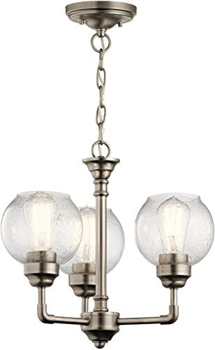 Kichler 43992AP Niles Chandelier, 3 Light Incandescent 300 Total Watts, Antique Pewter