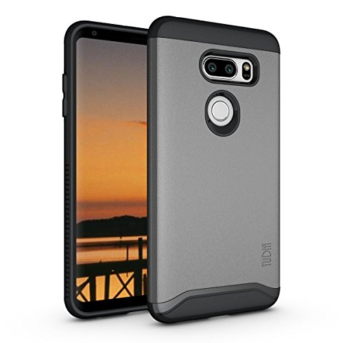 (TUDIA Merge LG V35 ThinQ Case with Heavy Duty Extreme Protection/Rugged but Slim Dual Layer Shock Absorption Case for LG V35 ThinQ (Metallic Slate))
