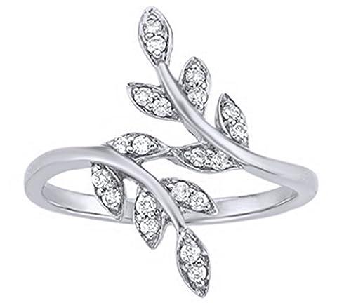 White Natural Diamond Leaf Fashion Ring In 10K Solid White Gold (0.2 Ct) (Leaf Ring White Gold)