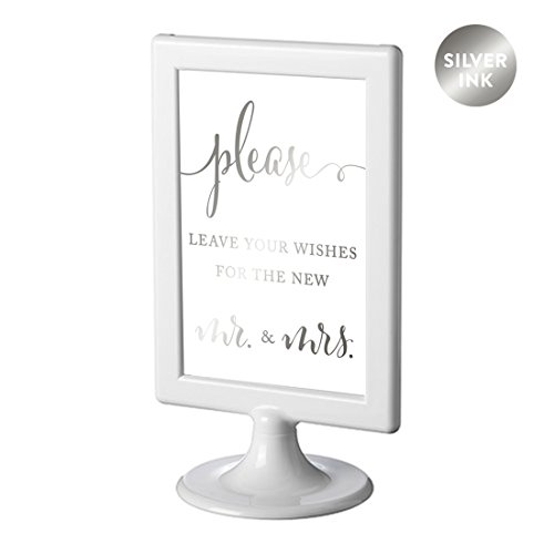 Andaz Press Framed Wedding Party Signs, Metallic Silver Ink, 4x6-inch, Please Leave Your Wishes for the New Mr. & Mrs., Double-Sided, 1-Pack, Colored Decorations
