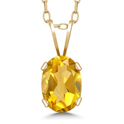 Gem Crystal 14k Pendant (0.60 Ct Oval Yellow Citrine 14K Yellow Gold Pendant)
