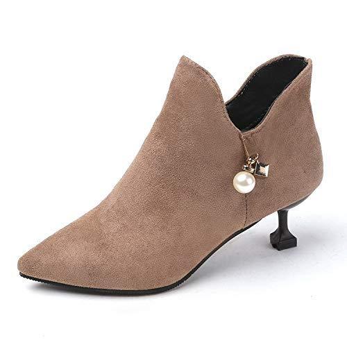 Eeayyygch High Heels Damenschuhe Stiefeletten Britischer Stilettostiefel mit kurzen, Spitzen Stiefeletten (Farbe   37, Größe   Khaki)