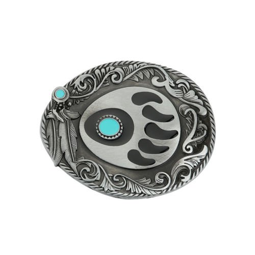 Goodluck Bear Claw Paw Turquoise Belt Buckle Mens Native American Indian ()