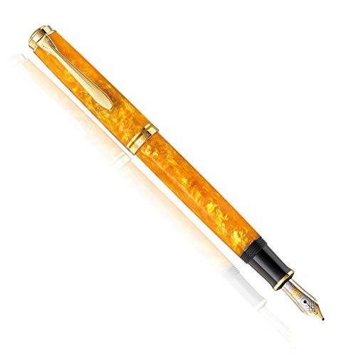 Gold Plated Nib Ring - Pelikan Special Edition Souverän 600 Vibrant Orange Fountain pen With 14K Medium Nib