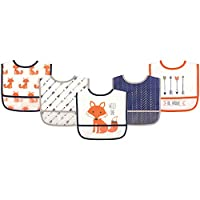 Hudson Baby Waterproof Bib with Crumb Catcher Pocket, Fox