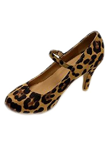 Bella Marie Women's Almond Toe Low Heel Mary Jane Glitter or Suede Pumps Leopard, 10