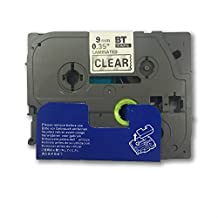 """1PK Onirii Compatible Brother p touch TZ121 TZe121 TZ-121 TZE121 label Tape 9MM Wide x 8m Length 0.35"""" 3/8 Inch Black on Clear"""