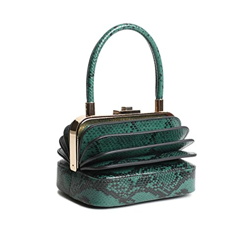 Qidell Women's Snakeskin Embossed Leather Designer Clutch Bag Evening Clutch Tote Purse Evening Bag (Green) ()