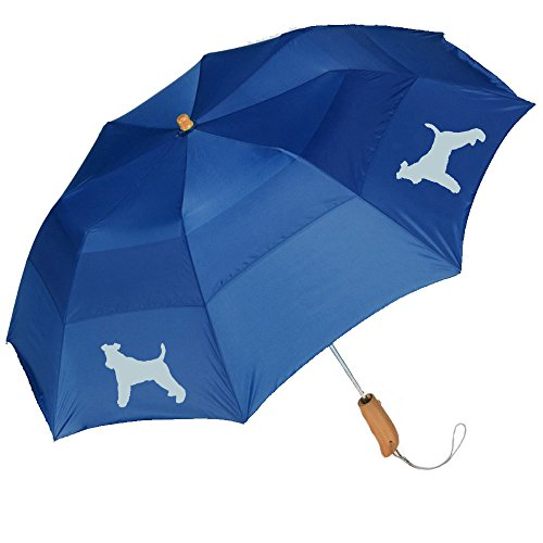 "Peerless 43"" Arc auto open folding umbrella with Wire Fox Terrier Silhouette"