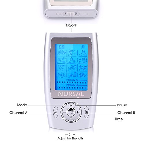 NURSAL Rechargeable FDA Cleared TENS Units Muscle Stimulator, Pain Relief Machine with 8 Pads for Pain Management and Rehabilitation by NURSAL (Image #7)