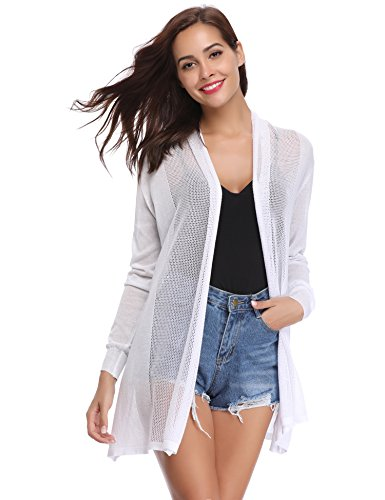 Abollria Womens Casual Long Sleeve Open Front Cardigan Sweater(White,XL) ()
