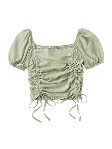 SheIn Women's Puff Short Sleeve Square Neck Shirred Drawstring Crop Blouse Top Mint Green Small