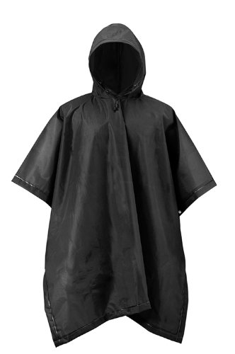 Mossi Adult Rain Poncho Black EVA Waterproof Reusable by Mossi