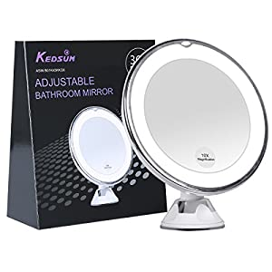 KEDSUM 68 10x Magnifying LED Lighted Makeup MirrorBathroom Vanity Mirror With Strong Suction CupRotates 360 DegreesDaylight Color