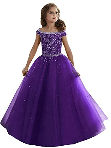 WZY Girls Illusion Rhinestone Beading Ruffled Christmas Ball Gown Princess Pageant Dress (8, (Purple Full Rhinestones)