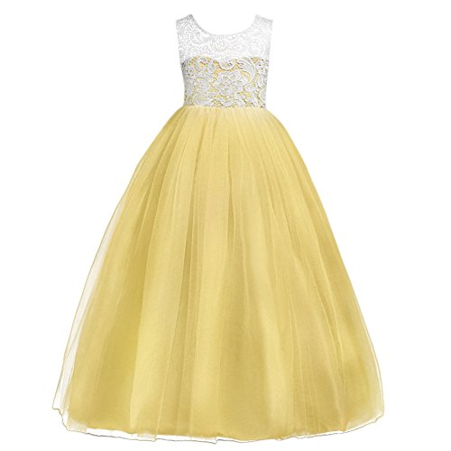 IBTOM CASTLE Little Big Girls' Tulle Dresses 7-16T Ruched Lace Pageant Party Wedding Bridesmaid Floor Length Evening Dance Gowns Yellow 15-16 Year