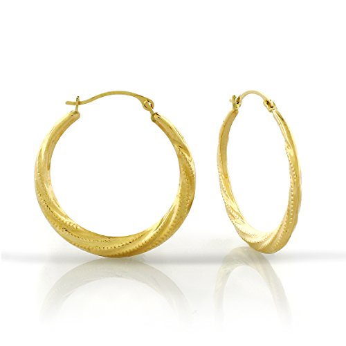 Yellow Gold Twist Earrings (14k Yellow Gold Womens Fancy Round Etched Flat Spiral Twist Hoop Earrings)