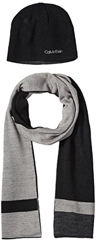 Calvin Klein Men's Hat and Scarf Set, Black/Heather Gray, One Size by Calvin Klein