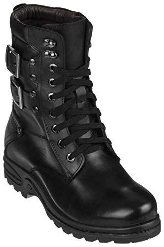 Calden Mens Invisible Height Increasing Elevator Shoes - Black Leather Lace-up High-top Military Boots - 3.1 Inches Taller - K512666