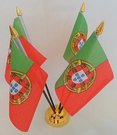 Portugal portugés 4 mesa de sobremesa con pantalla dorado de la bandera de Base: Amazon.es: Hogar