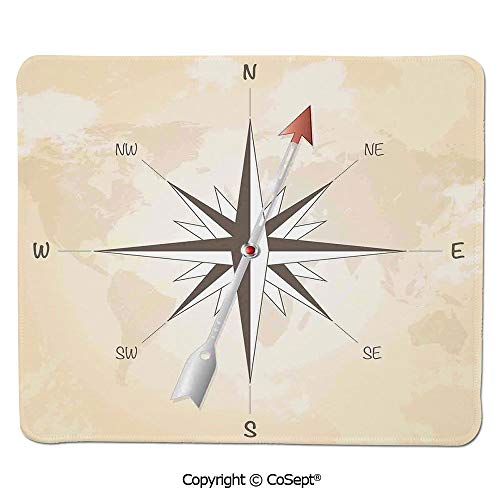 Non-Slip Rubber Base Mousepad,Compass Rose with Metal Arrow on Vintage Grungy Background Travel Navigation Art,for Laptop,Computer & PC (7.87
