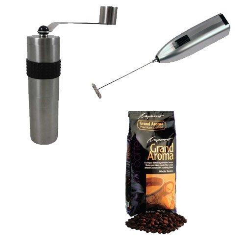 Rhinowares Hand Coffee Grinder + Capresso Grand Aroma Whole Bean Coffee (8.8oz) + Knox Handheld Milk Frother