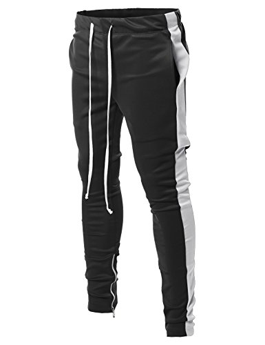 Style by William Side Panel Long Length Drawstring Ankle Zipper Track Pants Black White (31 Black Track)