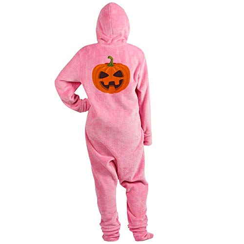 CafePress Jack O Lantern Emoji Novelty Footed Pajamas, Funny Adult One-Piece PJ Sleepwear -