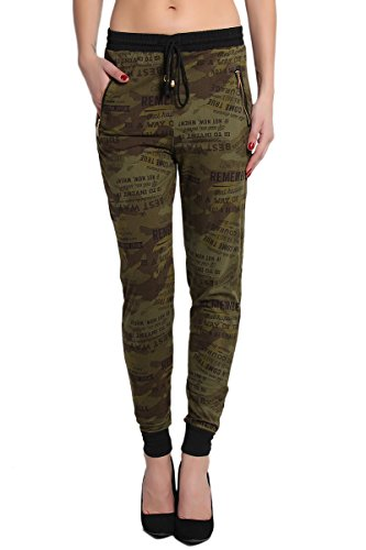 TheMogan Women's Casual Ladies Camouflage Jogger Pants - Olive - ONE SIZE