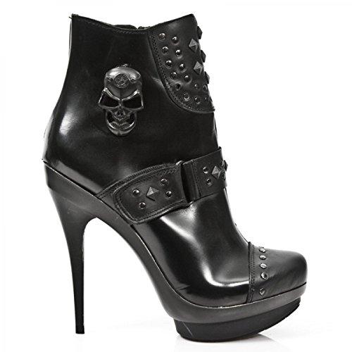 New Rock Boots M.punk263-c3 Gotico Hardrock Punk Damen Highheel Stiefelette Schwarz