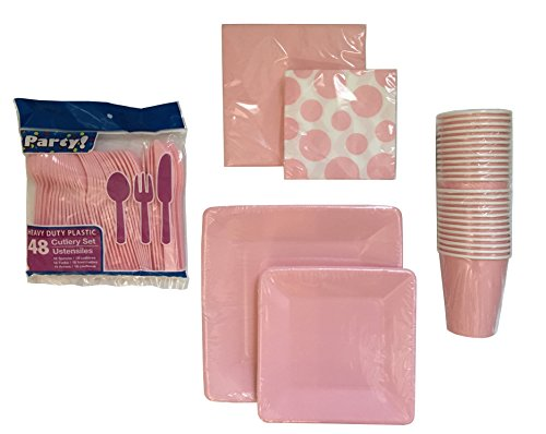 Pink Disposable Dinnerware Set - Serves 16 - Pink Party Supply Set Includes 2 Square Plate Sizes, Forks, Knives, Spoons, Lunch and Cocktail Napkins and Paper Cups - Cocktail Fork Pink