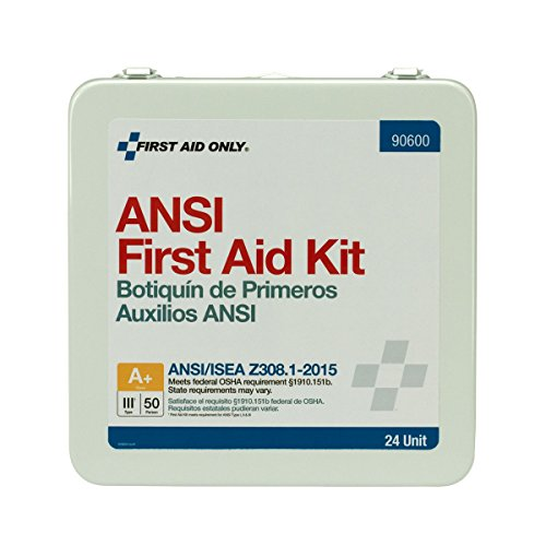 Pac-Kit by First Aid Only 90600 24 Unit ANSI A+ First Aid Kit, Metal, Weatherproof