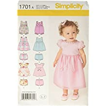 Simplicity 1701 Babies' Dress and Separates Sewing Pattern, Size A (XX-Small - X-Small - Small - Medium - Large)
